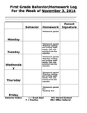 Behavior Log and Homework Log Template