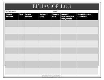 Behavior Log and Parent Contact Log: Due Diligence and Classroom Management
