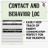 Behavior Log and Parent Contact Log: Due Diligence and Cla