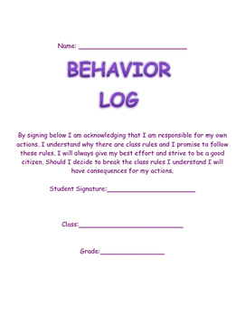Behavior Log for Any Classroom