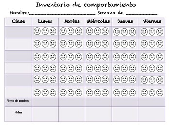 Behavior Log in Spanish