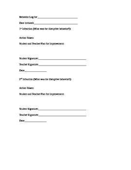 Behavior Log with Behavior Plan
