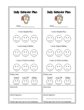 Behavior management bundle daily behavior plans charts for Behavior charts for preschoolers template