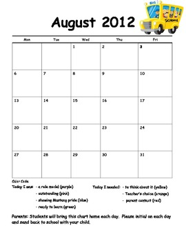 Behavior Management Calendar