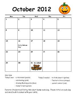 Behavior Management Calendar