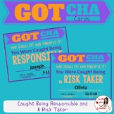 Behavior Management Cards: Caught Being Responsible & a Ri