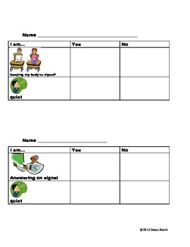 Behavior Management Chart for Individual Students