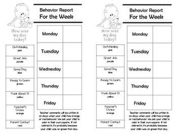 Behavior Management Charts and Parent Reports