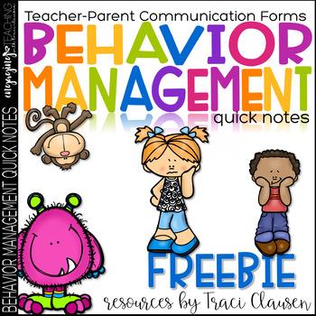 FREE Behavior Management Classroom Parent Communication Forms