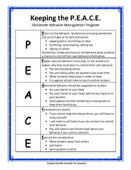 Behavior Management Classroom Program - Keeping the PEACE