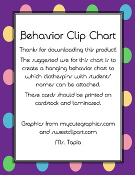Behavior Management Clip Chart