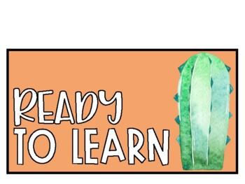 Behavior Management Clip Chart - Cactus Watercolor