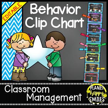 Behavior Management Clip Chart (EDITABLE) Aqua and Chalkboard Theme