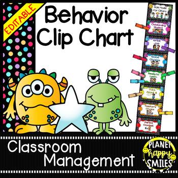 Behavior Management Clip Chart (EDITABLE) Monster Theme