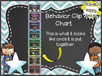 Behavior Management Clip Chart (EDITABLE) Teal and Chalkboard Theme