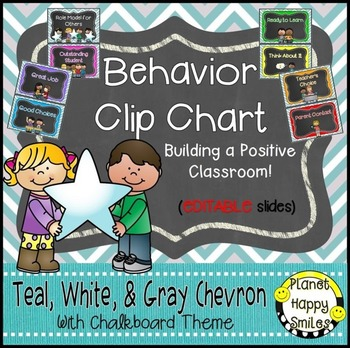 Behavior Management Clip Chart (EDITABLE) Teal and Chalkbo