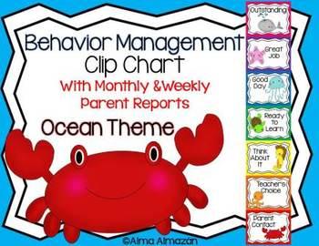 Behavior Management Clip Chart Ocean Theme with Parent Reports