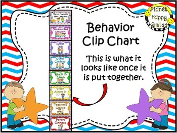 Behavior Management Clip Chart (EDITABLE) ~ Red, White, & Blue Chevron