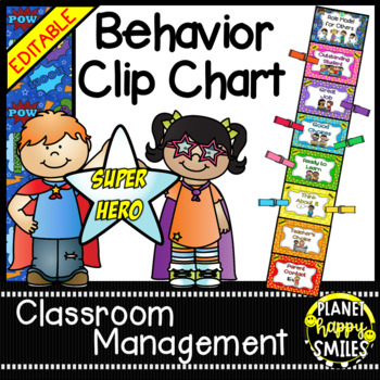 Behavior Management Clip Chart (EDITABLE) ~ Super Hero Theme