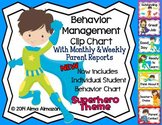 Behavior Management Clip Chart Superhero Theme with Parent Reports