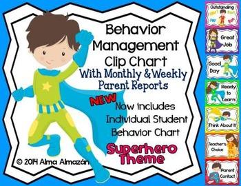 Behavior Management Clip Chart Superhero Theme with Parent Reports