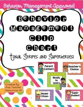 Behavior Management Clip Chart - Superhero and Tonal Brights