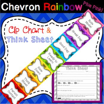 Behavior Management Clip Chart WITH Think Sheet in Rainbow Chevron