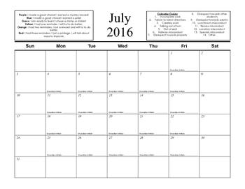 Behavior Management Color Clip Chart Calendars