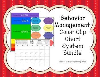 Behavior Management Color Clip Chart System Bundle