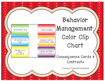 Behavior Management Consequence Cards, Contracts, and Reflection Cards