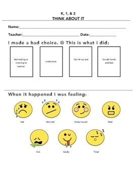 Behavior Management Lower Elementary Think-About-It Form