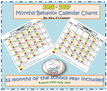 Behavior Management Monthly Calendar