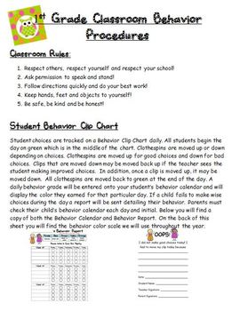 Behavior Management Procedures Parent Letter