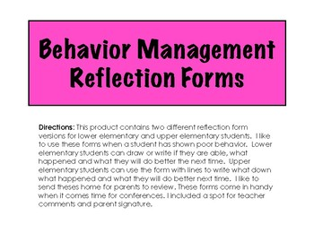 Behavior Management Reflection Forms