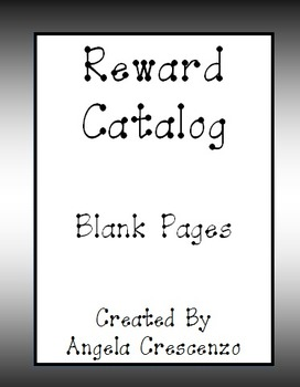 Behavior Management Reward Catalog Blank Pages ***FREEBIE***