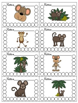Behavior Management Reward Catalog & Punch Cards Monkey Theme