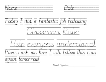 Behavior Management Rule Following Tracing Pages for Primary Students