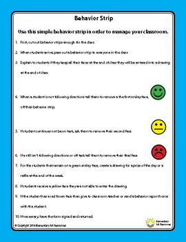 Behavior Management Strategies - Smile, Frown Behavior Strips