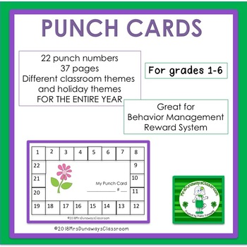 Behavior Management Student Punch Cards