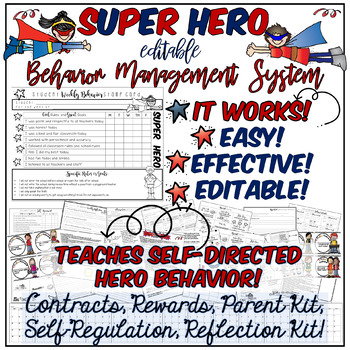 Behavior Management System, Super Hero Theme!  Creates Self-Regulated Heroes!