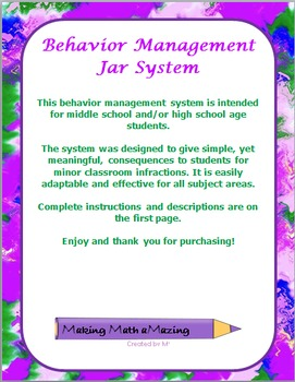 The Consequence Jar - Behavior Management System