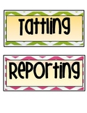 Behavior Management- Tattling vs. Reporting Anchor Chart
