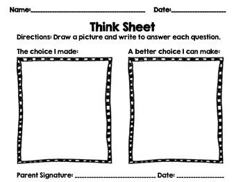 Behavior Management Think Sheet and Communication