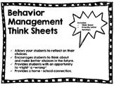 Behavior Management Think Sheets and Communication