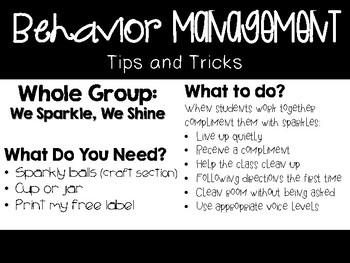 Behavior Management Tips and Tricks Freebie
