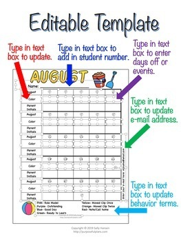 Behavior Calendars 2017-2018 & Templates (Editable) for Classroom Management
