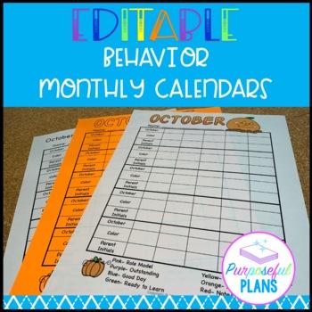 Editable Behavior Monthly Calendars 2018-2019 for Classroom Management