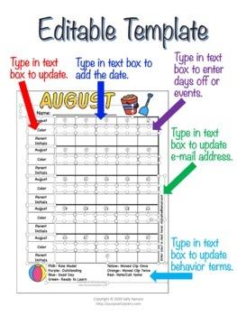 Editable Behavior Monthly Calendars 2019-2020 for Classroom Management