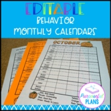 Editable Behavior Monthly Calendars 2018-2019/Templates fo