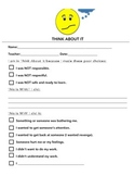 Behavior Management Upper Elementary Think-About-It Form